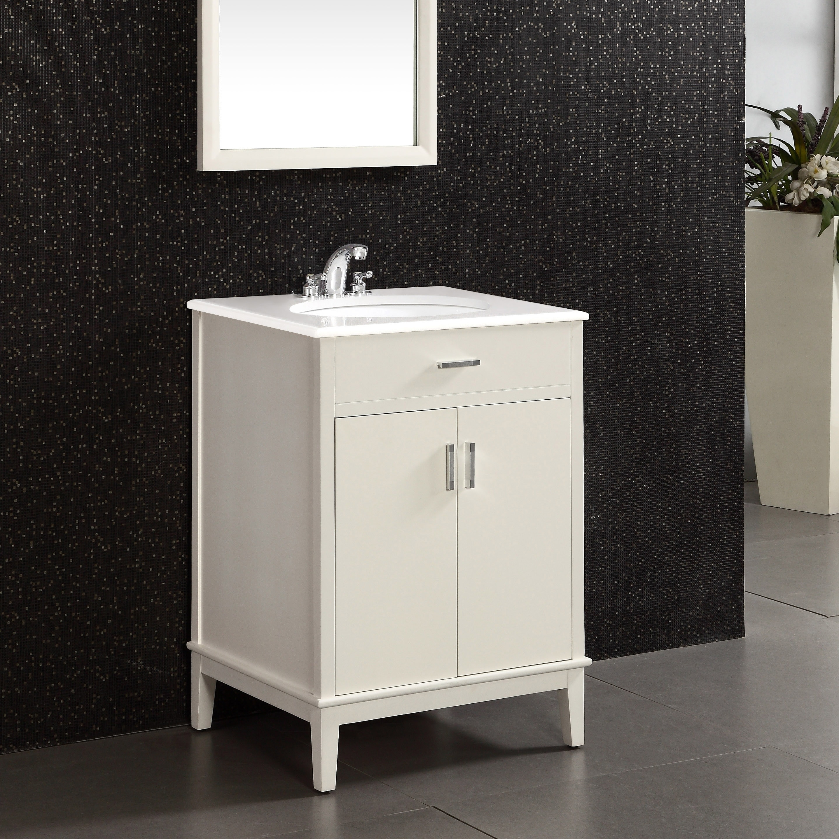 Wyndenhall Oxford 24 Inch Contemporary Bath Vanity In Soft White With Engineered Quartz Marble Top