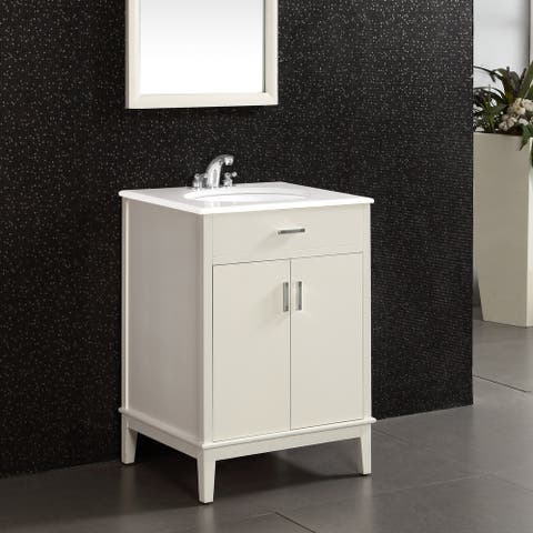 WYNDENHALL Oxford 24 inch Contemporary Bath Vanity in Soft White with White Engineered Quartz Marble Top
