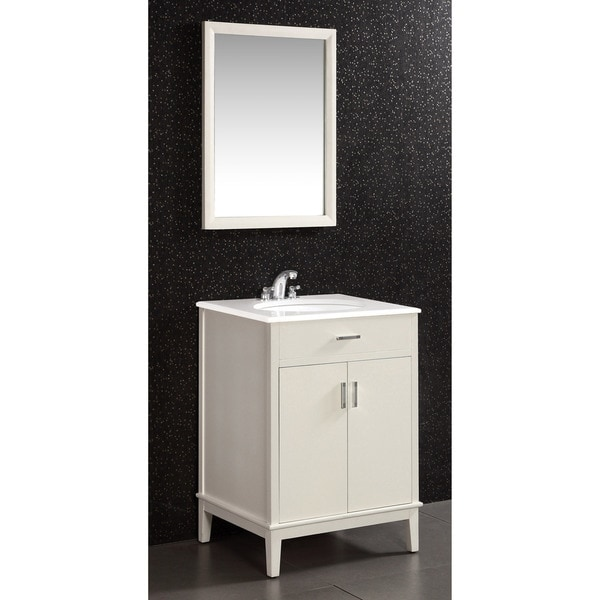 WYNDENHALL Oxford White 2 Door 24 Inch Bath Vanity Set With White Quartz  Marble