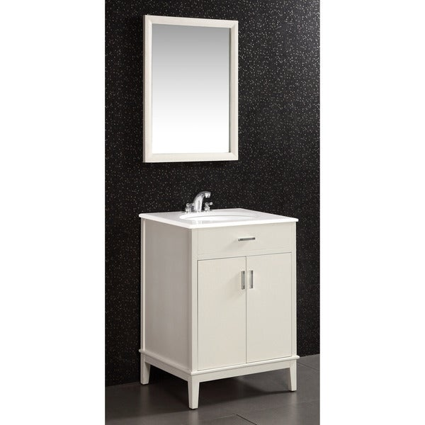 white 2 door 24 inch bath vanity set with white quartz marble top