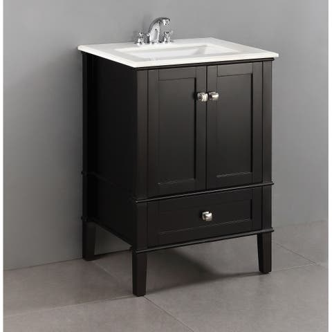 WYNDENHALL Windham 24 inch Contemporary Bath Vanity in Black with White Engineered Quartz Marble Top