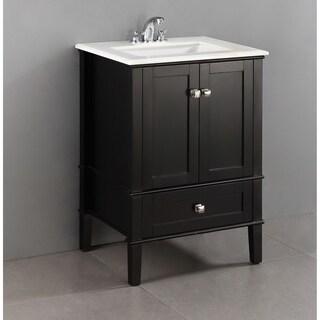 Exceptionnel WYNDENHALL Windham Black 2 Door 24 Inch Bath Vanity Set With Bottom Drawer  And