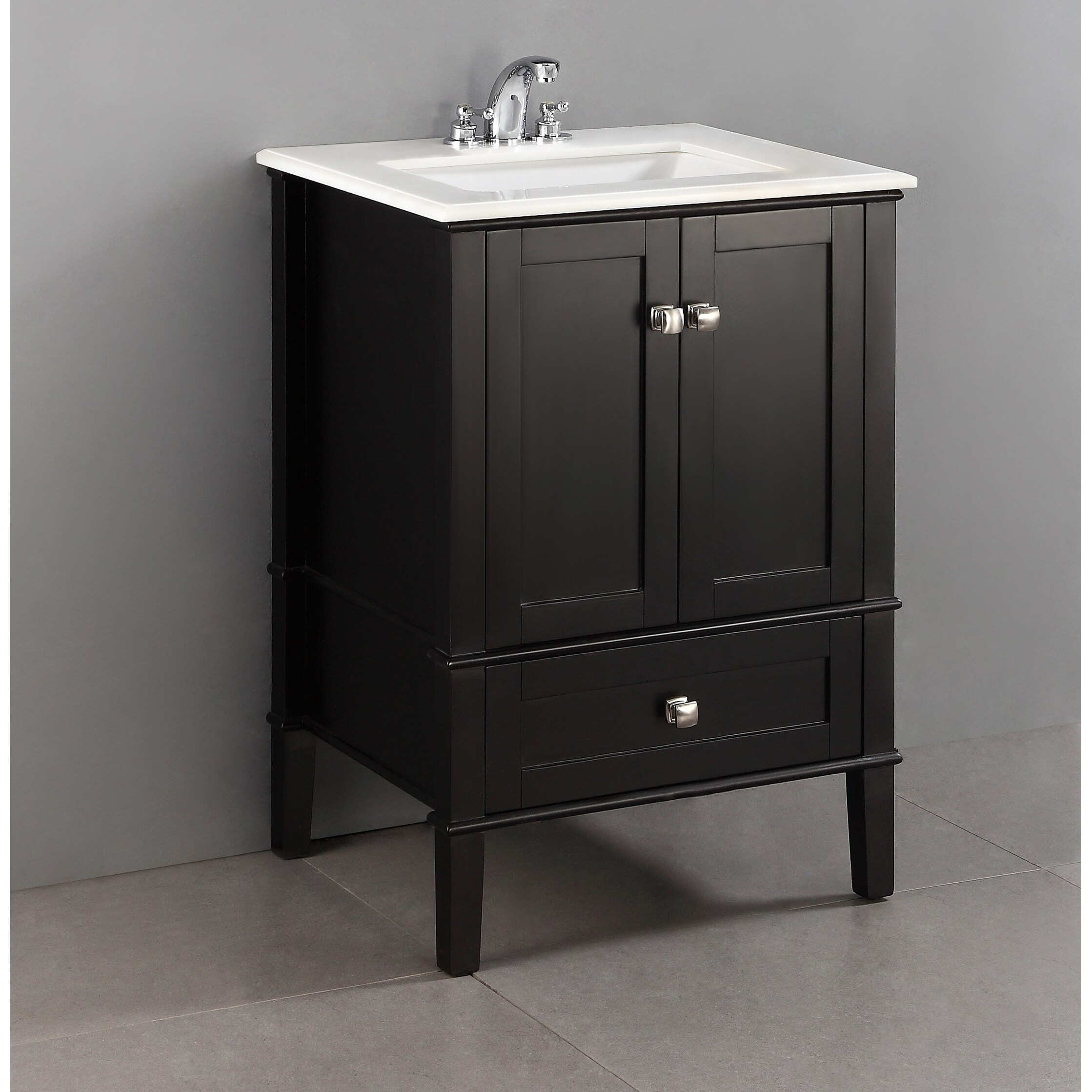 wyndenhall windham 24 inch contemporary bath vanity in black with white  engineered quartz marble top