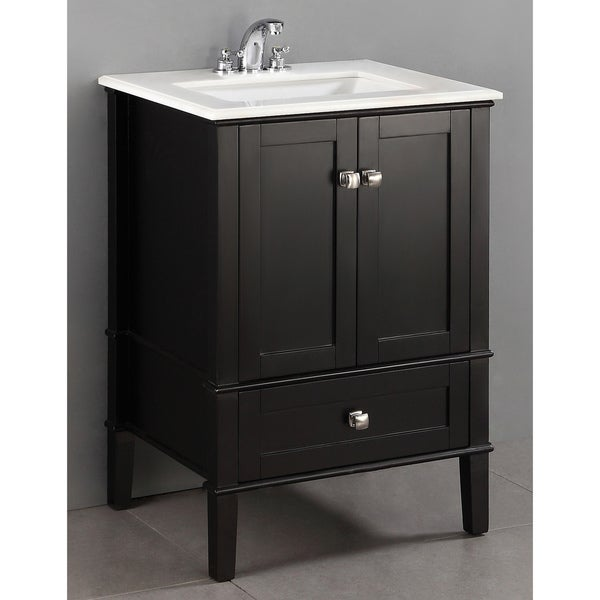 WYNDENHALL Windham Black 2 Door 24 Inch Bath Vanity Set With Bottom Drawer  And