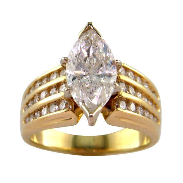14k Yellow Gold 2 7/8 TDW Three Row Round and Marquise Shape Diamond Ring (G, I1)