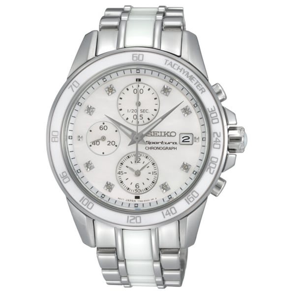 Seiko Women's Sportura Chrono Mother Of Pearl Diamond Watch