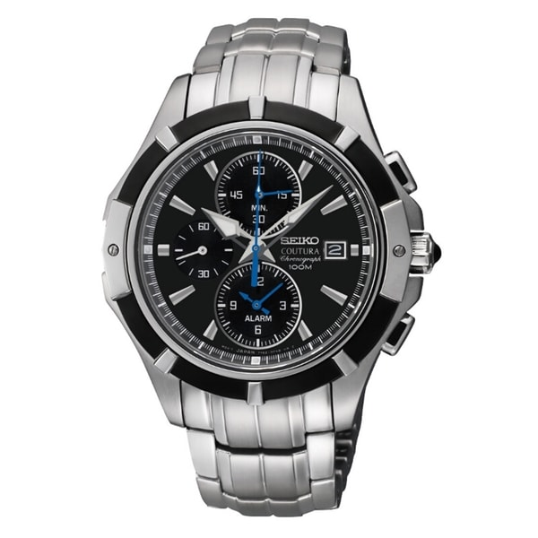 Seiko Men's Coutura Chrono Black Dial Stainless Steel Watch