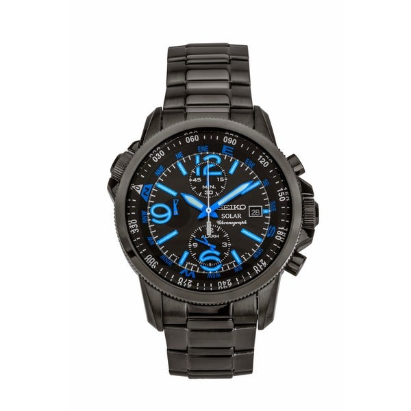 Seiko Men's Solar Chrono Black Ion Compass Watch