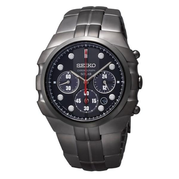 Seiko Men's Solar Chrono Black Ion Stainless Steel Watch