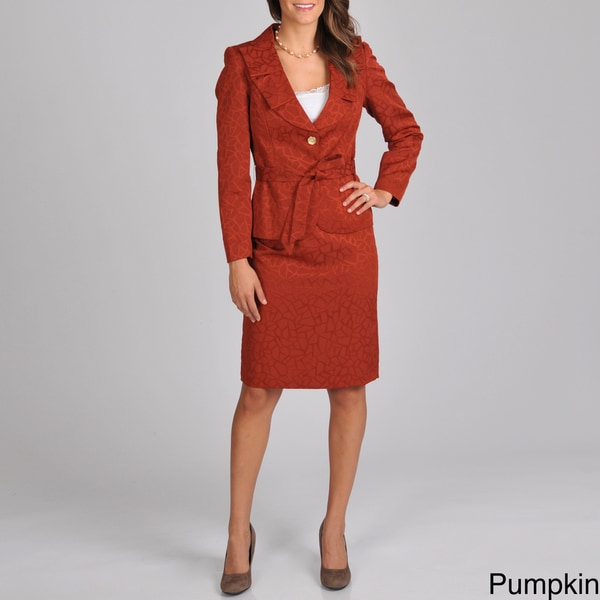 Signature by Larry Levine Women's Textured Skirt Suit