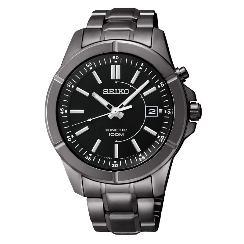 Shop Seiko Men S Kinetic Black Ion Automatic Watch Free