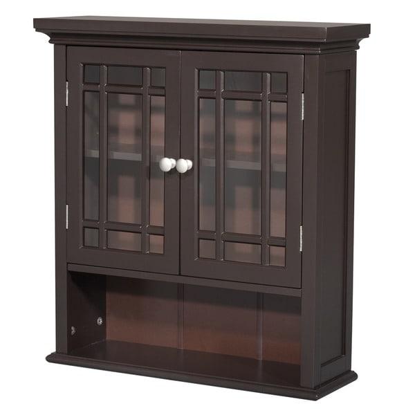 Stripe 2-door Espresso Wall Cabinet by Elegant Home Fashions
