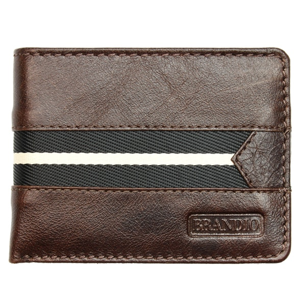 Brandio Fashion Men's Leather Wallet Bi-fold in Brown Black Design