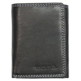 Yacht Fashion Men's Leather Wallet Tri-fold Black Design