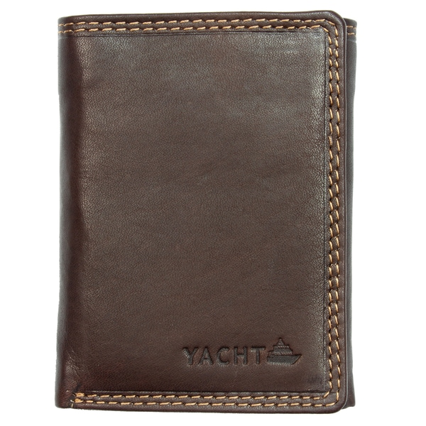 Yacht Fashion Men's Leather Wallet Tri-fold Brown Design