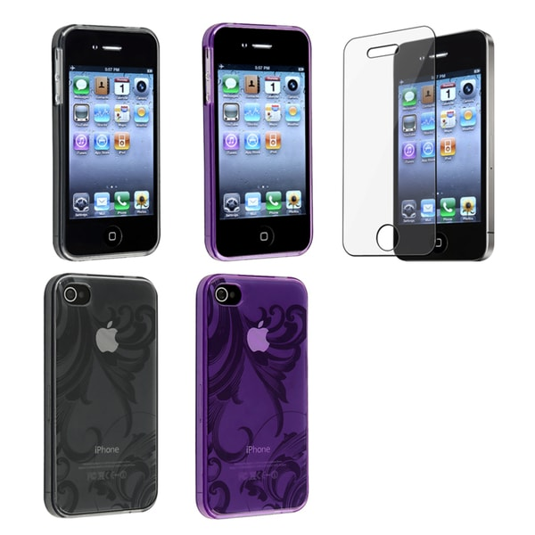 BasAcc Smoke/ Purple TPU Case/ Screen Protector for Apple iPhone 4/ 4S