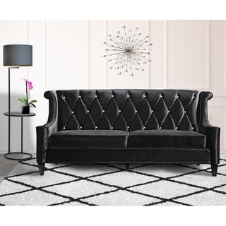 Armen Living Barrister Modern Black Velvet Sofa with Crystal Buttons