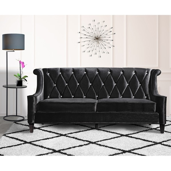 Armen Living Barrister Modern Black Velvet Sofa With Crystal Ons