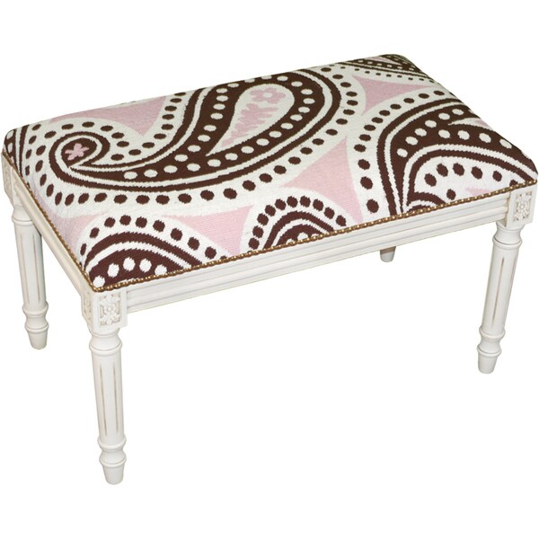 Brown and Pink Paisley Needlepoint Bench