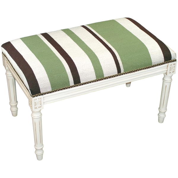 Green And Brown Stripes Needlepoint Bench Free Shipping