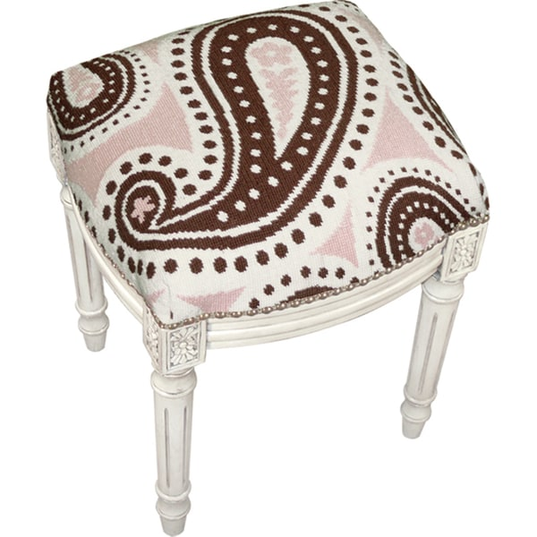 Brown and Pink Paisley Needlepoint Stool