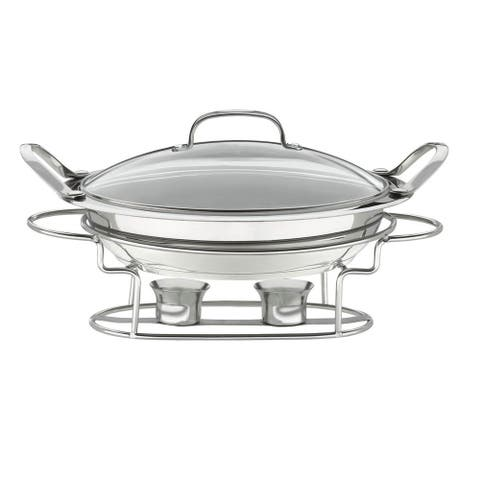 Stainless Steel Round 3-quart 12-inch Buffet Server