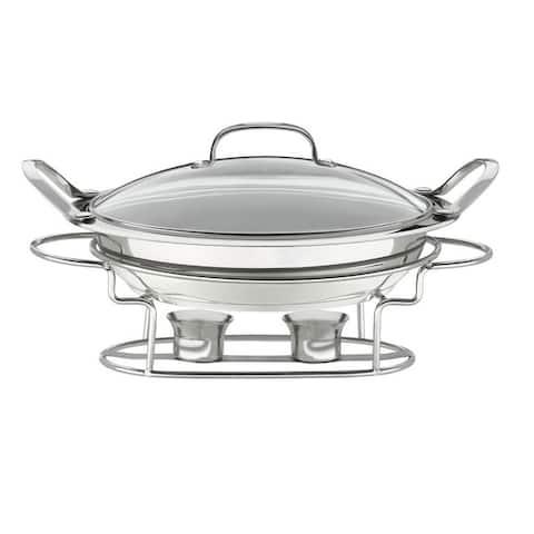Stainless Steel Round 3-quart 12-inch Buffet Server