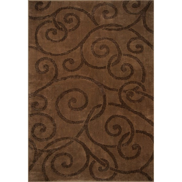 Somette Illusions Woven Briar Brown Rug (8' x 11')