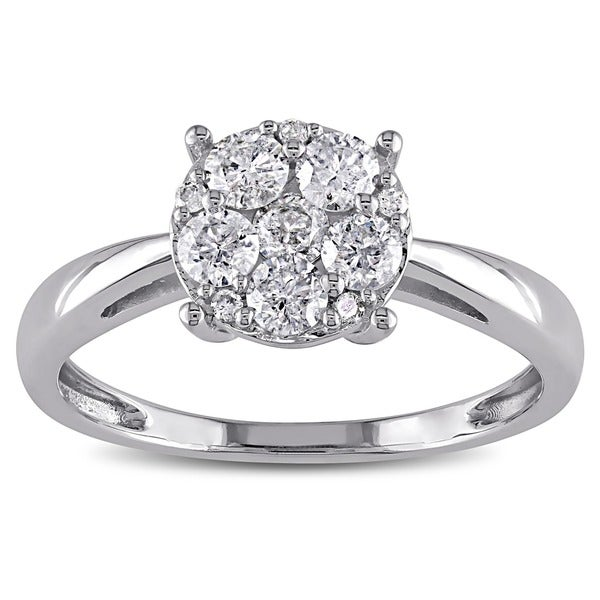 Miadora 10k White Gold 1/10 to 1/2ct TDW Diamond Multi-Round Center Engagement Ring