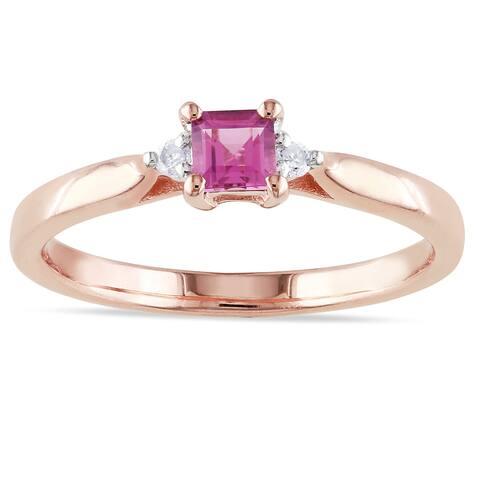 Miadora Silver Tourmaline, Sapphire, Morganite, Tanzanite, Emerald or Ruby and Diamond Ring