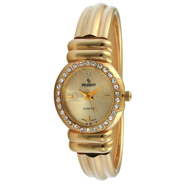 Peugeot Women's 'Vintage' Crystal Goldtone Bracelet Watch