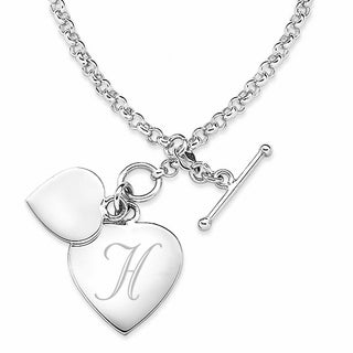 Sterling Silver Single Initial Double Heart Charm Bracelet (More options available)