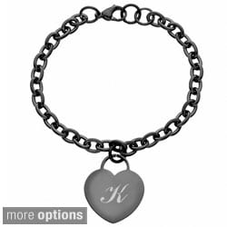 Black Stainless Steel Single Initial Heart Bracelet