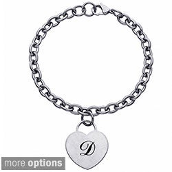 Stainless Steel Single Initial Heart Charm Bracelet