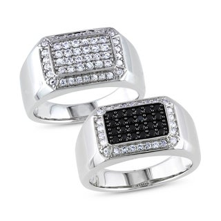 Miadora Sterling Silver Men's Black or White Pave Gemstone Ring