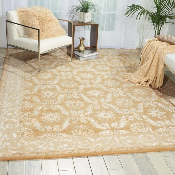 Nourison Hand-tufted Symphony Bordered Gold Rug (7'6 x 9'6)