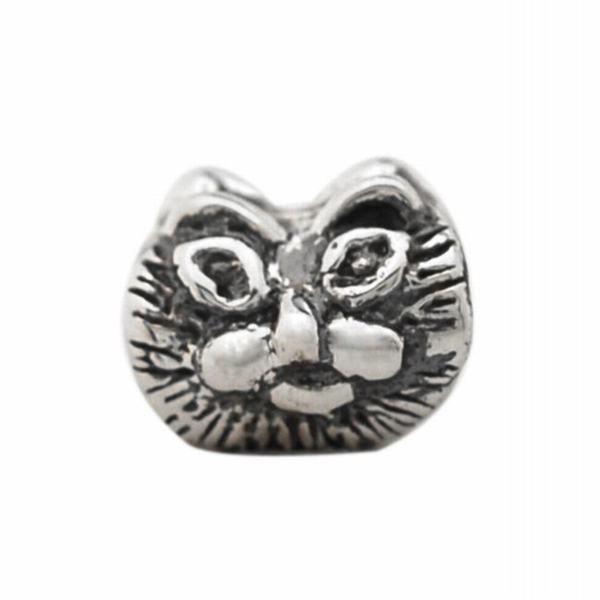 De Buman Sterling Silver Cat Face Charm Bead
