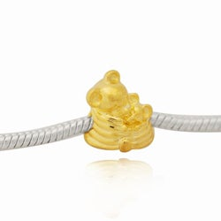 De Buman Gold-plated Sterling Silver Mom and Baby Charm Bead