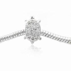 De Buman Sterling Silver Zircon Tortoise Charm Bead