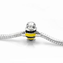 De Buman Sterling Silver Enamel Honey Bee Charm Bead