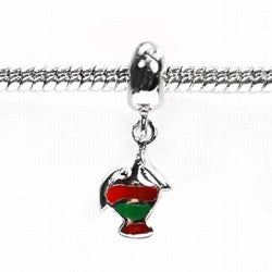 De Buman Sterling Silver Enamel Red/ Green Fish Dangle Charm Bead