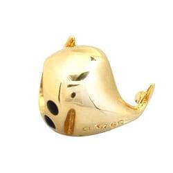 De Buman Gold-plated Sterling Silver Enamel Whale Charm Bead