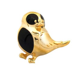 De Buman Gold-plated Sterling Silver Enamel Bird Charm Bead