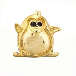 De Buman Gold-plated Sterling Silver Enamel Happy Penguin Charm Bead