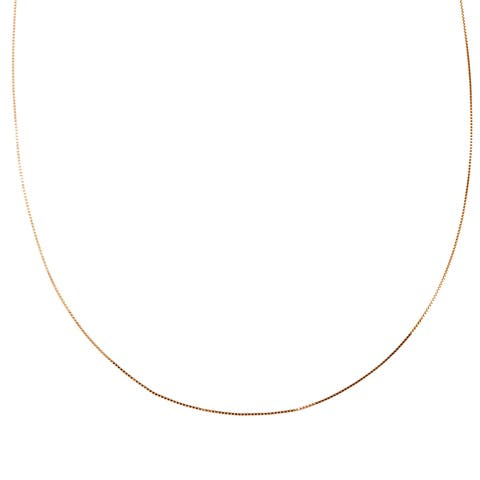 Roberto Martinez 14k Rose Gold Box Chain Necklace (16-20 Inch) - Pink