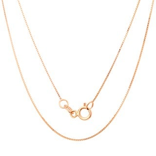 14k Rose Gold Box Chain Necklace (16-20 Inch) - Pink