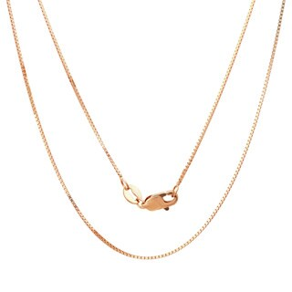14k Rose Gold .75 mm Box Chain Necklace (16-24 Inch) - Pink