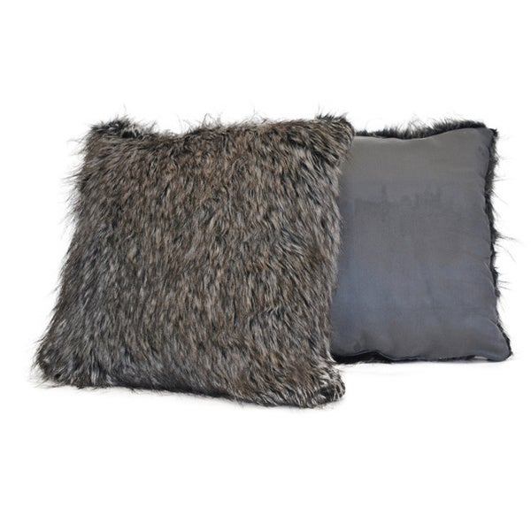 Sherry Kline Desert Fox Grey Fur Decorative Pillow (Set of 2)