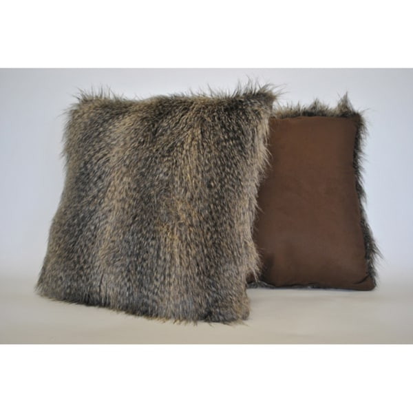 Shop Sherry Kline Raccoon Brown Faux Fur Decorative Pillow