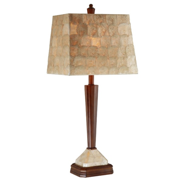 Brown Pole Lamp w/ Rectangle Capiz Shade